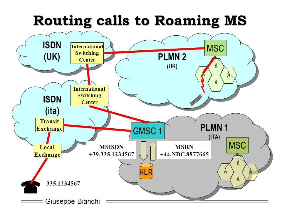 Giuseppe Bianchi PLMN 1 (ITA) MSC GMSC 1 HLR PLMN 2 (UK) MSC ISDN (ita) Transit Exchange Local Exchange International Switching Center MSISDN +39.335.