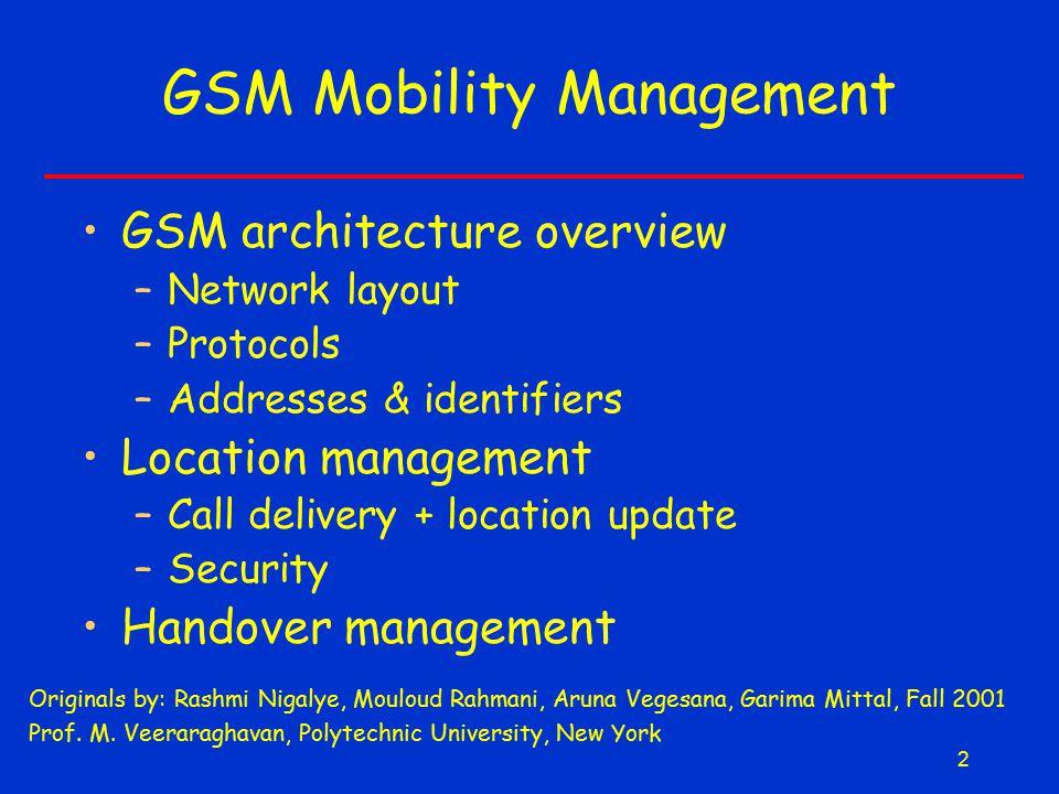 2 GSM Mobility Management Originals by: Rashmi Nigalye, Mouloud Rahmani, Aruna Vegesana, Garima Mittal, Fall 2001 Prof. M. Veeraraghavan, Polytechnic