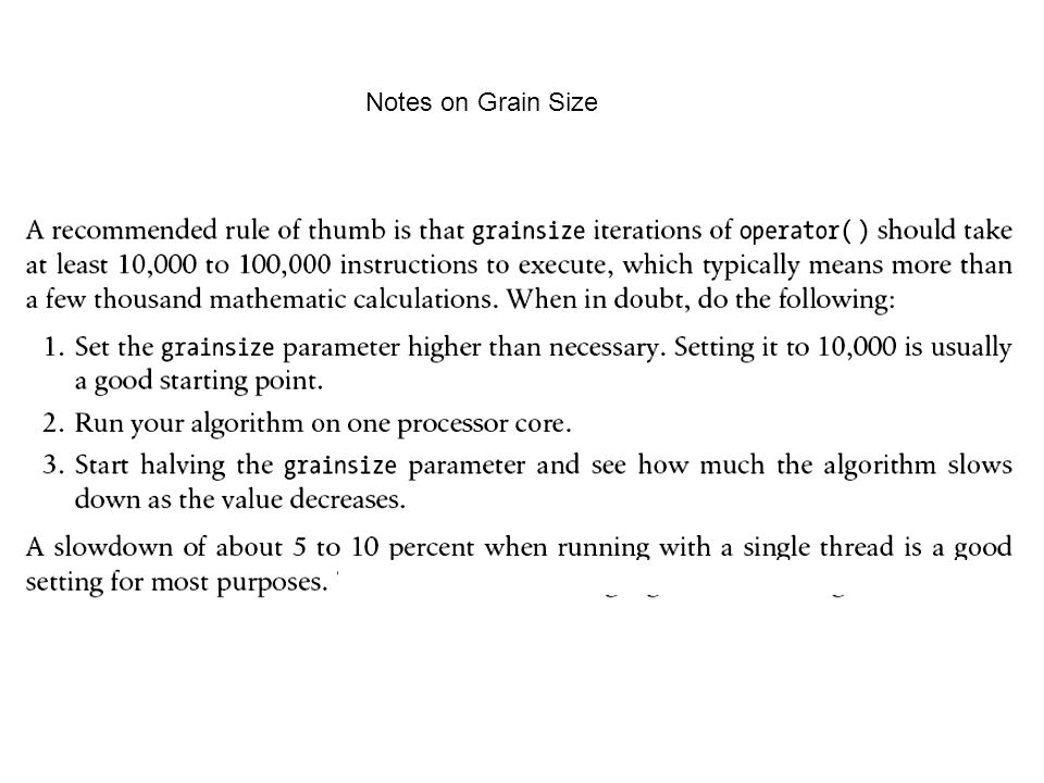 Notes on Grain Size