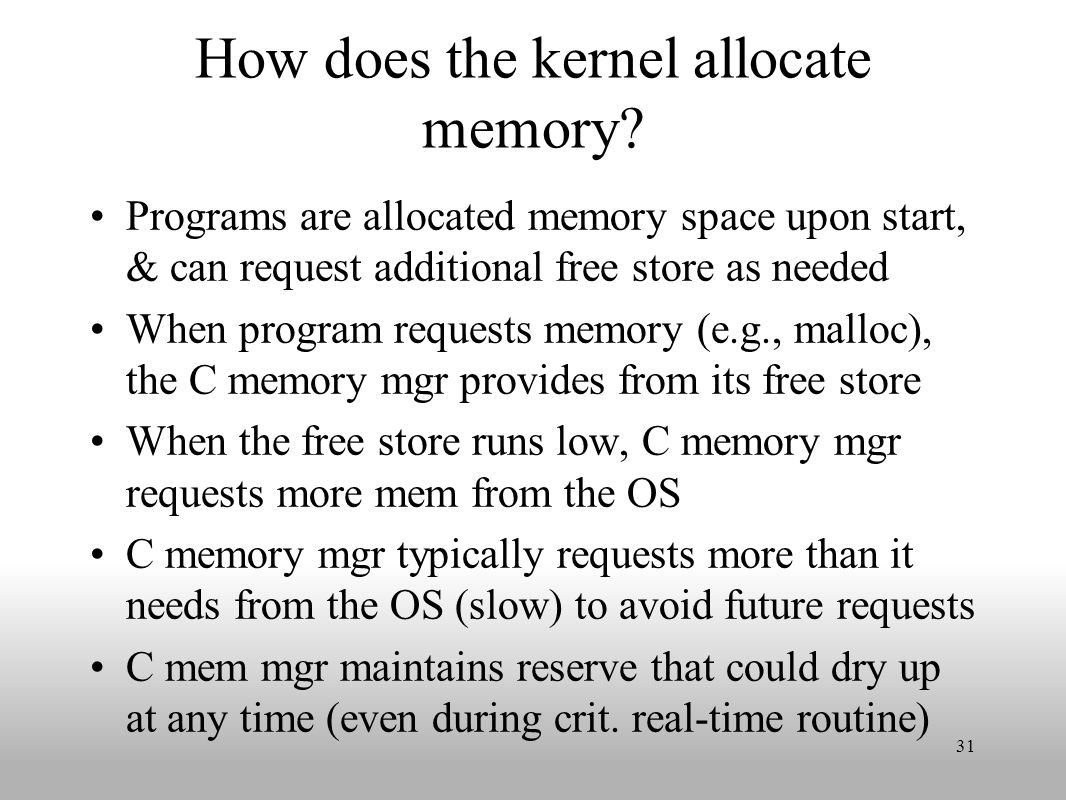 How does the kernel allocate memory.