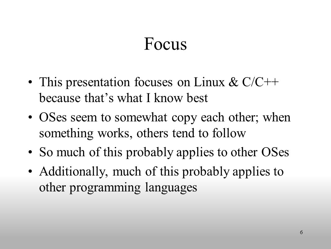 Program's address space is partitioned into segments Text segment (program's text), Initialized data segment, Uninitialized data segment (also called bss), Stack, Heap Size of each segment is determined by kernel Can use ulimit shell command to alter (e.g., reduce heap & increase stack if lot of recursion) Command-line arguments & environment variables are placed on user stack frame when program is invoked 17