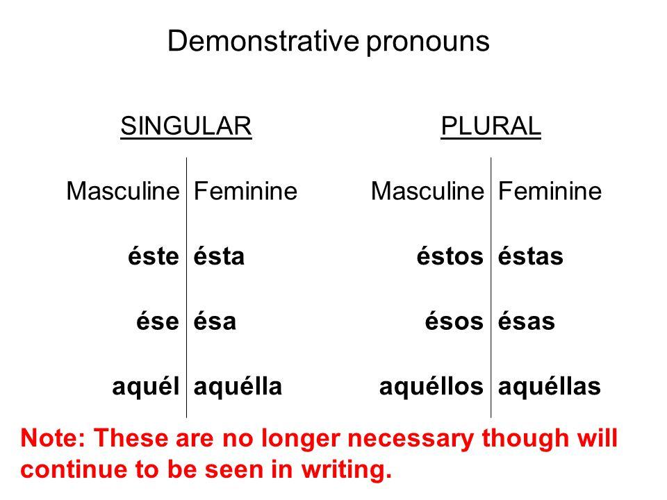 SINGULARPLURAL MasculineFeminineMasculineFeminine ésteéstaéstoséstas éseésaésosésas aquélaquéllaaquéllosaquéllas Demonstrative pronouns Note: These ar
