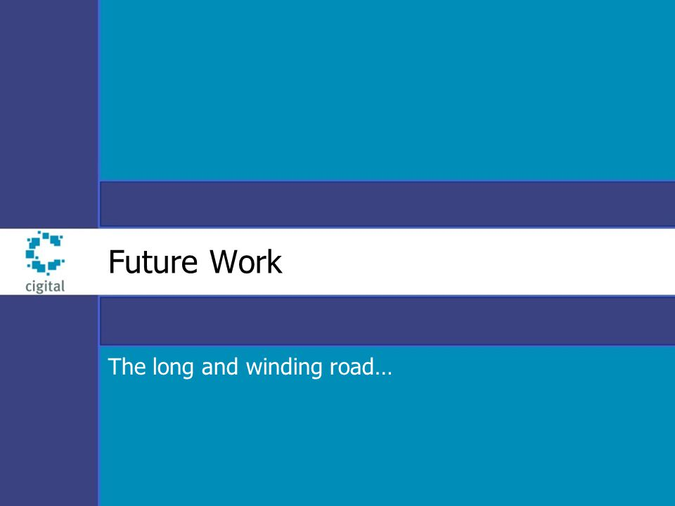 Future Work The long and winding road…