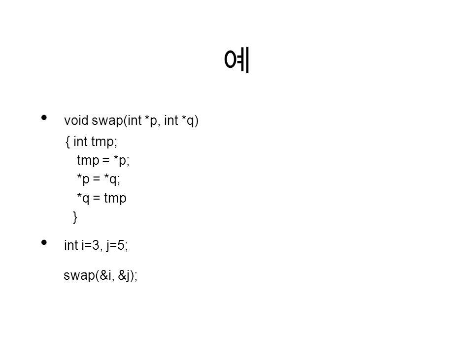 예 void swap(int *p, int *q) { int tmp; tmp = *p; *p = *q; *q = tmp } int i=3, j=5; swap(&i, &j);