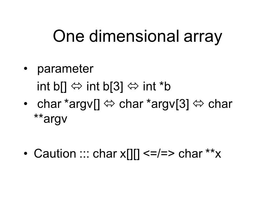 One dimensional array parameter int b[]  int b[3]  int *b char *argv[]  char *argv[3]  char **argv Caution ::: char x[][] char **x