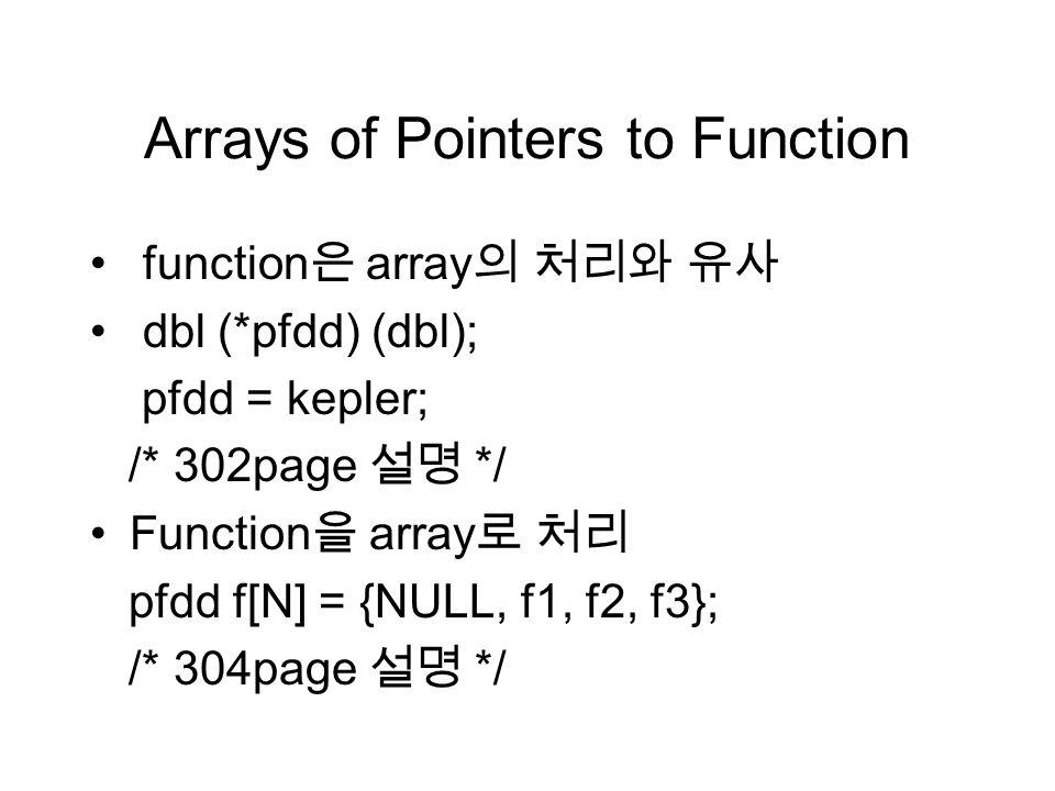 Arrays of Pointers to Function function 은 array 의 처리와 유사 dbl (*pfdd) (dbl); pfdd = kepler; /* 302page 설명 */ Function 을 array 로 처리 pfdd f[N] = {NULL, f1, f2, f3}; /* 304page 설명 */