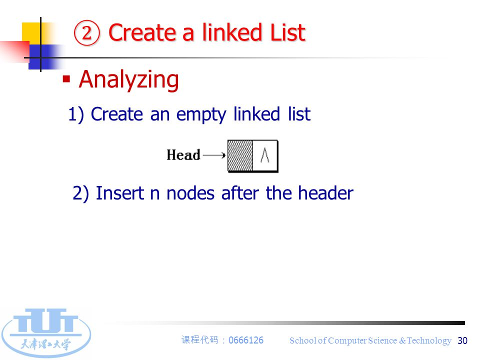 课程代码: 0666126 School of Computer Science &Technology 30 ② Create a linked List  Analyzing 1) Create an empty linked list 2) Insert n nodes after the header