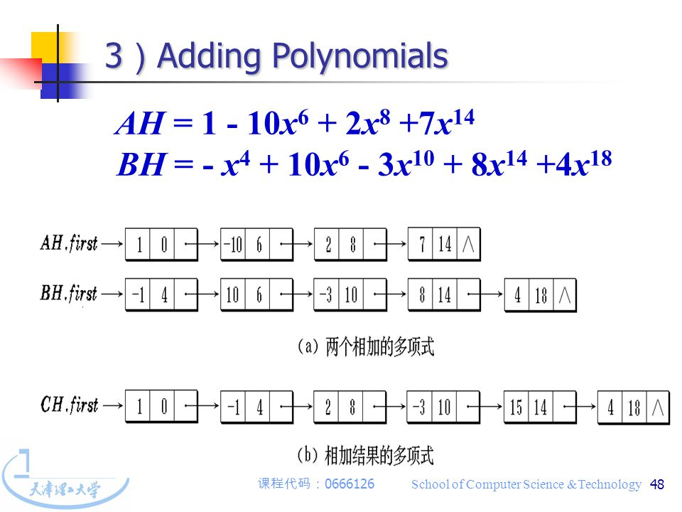 课程代码: 0666126 School of Computer Science &Technology 48 3 ) Adding Polynomials AH = 1 - 10x 6 + 2x 8 +7x 14 BH = - x 4 + 10x 6 - 3x 10 + 8x 14 +4x 18