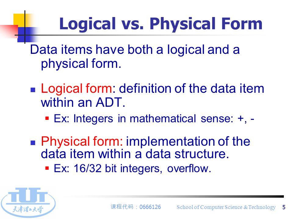 课程代码: 0666126 School of Computer Science &Technology 6 2.2 Linear List 1 ) Definition : finite same data type.