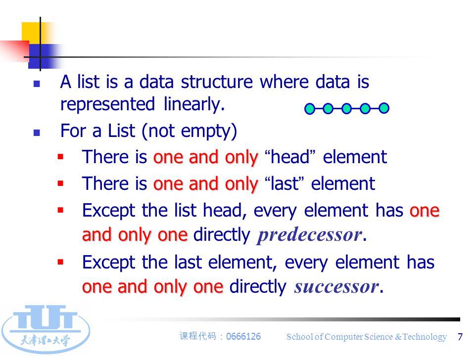 课程代码: 0666126 School of Computer Science &Technology 8 2 ) ADT of List ADT List { ADT List { Objects: D = { a i   a i ∈ ElemSet, i=1,2,...,n, n≥0 } Objects: D = { a i   a i ∈ ElemSet, i=1,2,...,n, n≥0 } Function: R1 = {   a i-1,a i ∈ D, i=2,...,n } Function: R1 = {   a i-1,a i ∈ D, i=2,...,n } InitList( &L ) InitList( &L ) DestroyList( &L ) DestroyList( &L ) ListEmpty( L ) ListEmpty( L ) ListLength( L ) ListLength( L ) GetElem( L, i, &e ) GetElem( L, i, &e ) … … … … } ADT List } ADT List