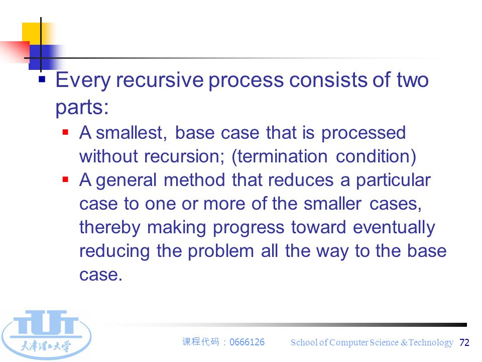 课程代码: 0666126 School of Computer Science &Technology 72  Every recursive process consists of two parts:  A smallest, base case that is processed wit
