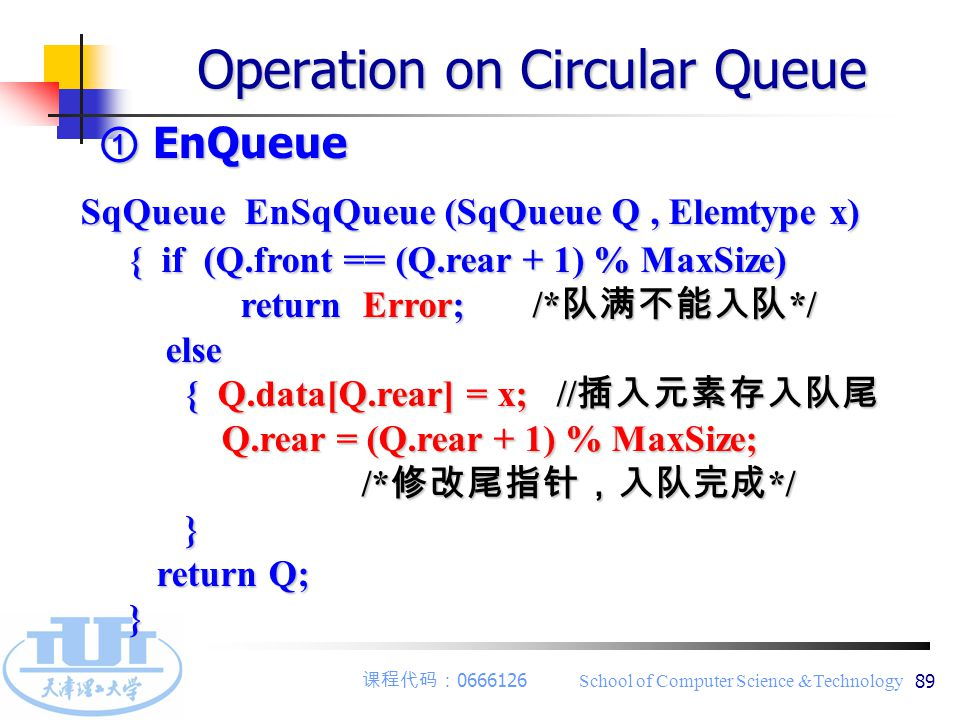 课程代码: 0666126 School of Computer Science &Technology 89 ① EnQueue Operation on Circular Queue SqQueue EnSqQueue (SqQueue Q, Elemtype x) { if (Q.front