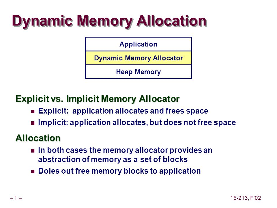 – 1 – 15-213, F'02 Dynamic Memory Allocation Explicit vs.