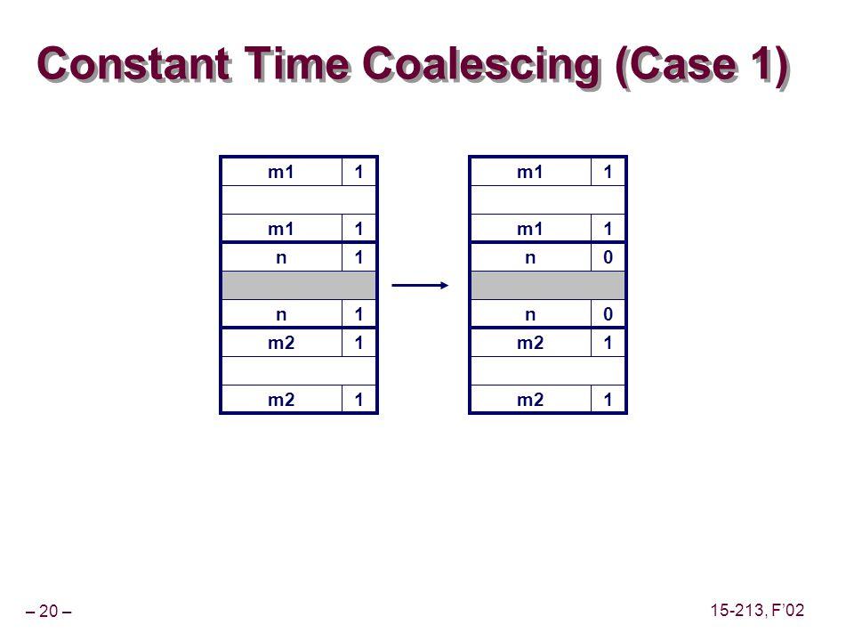 – 20 – 15-213, F'02 m11 Constant Time Coalescing (Case 1) m11 n1 n1 m21 1 m11 1 n0 n0 m21 1