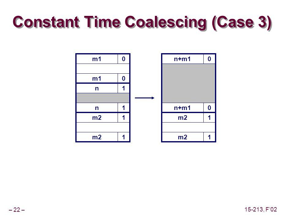 – 22 – 15-213, F'02 m10 Constant Time Coalescing (Case 3) m10 n1 n1 m21 1 n+m10 0 m21 1