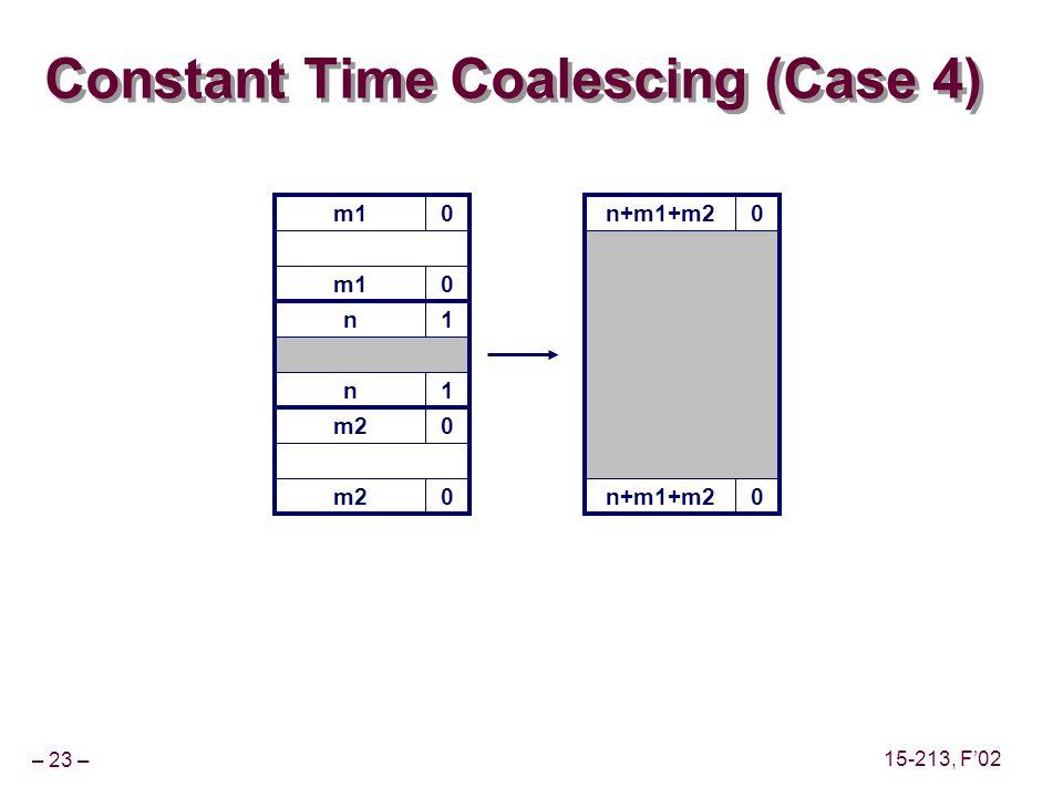 – 23 – 15-213, F'02 m10 Constant Time Coalescing (Case 4) m10 n1 n1 m20 0 n+m1+m20 0
