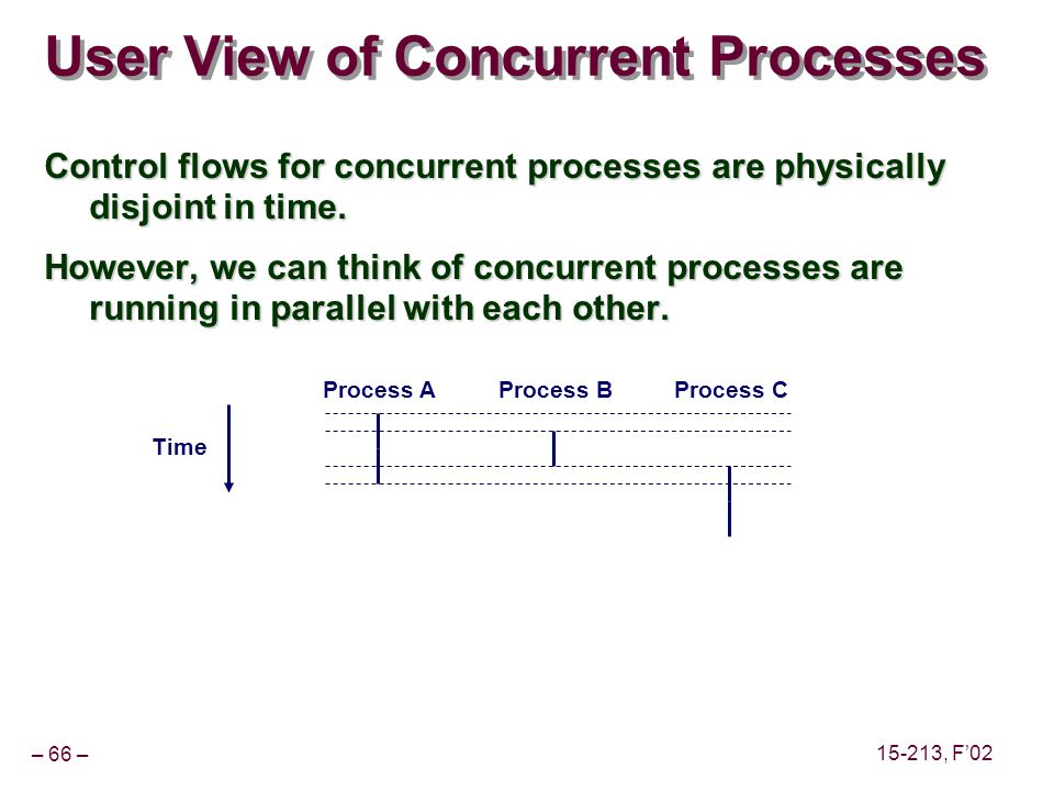 – 66 – 15-213, F'02 User View of Concurrent Processes Control flows for concurrent processes are physically disjoint in time.
