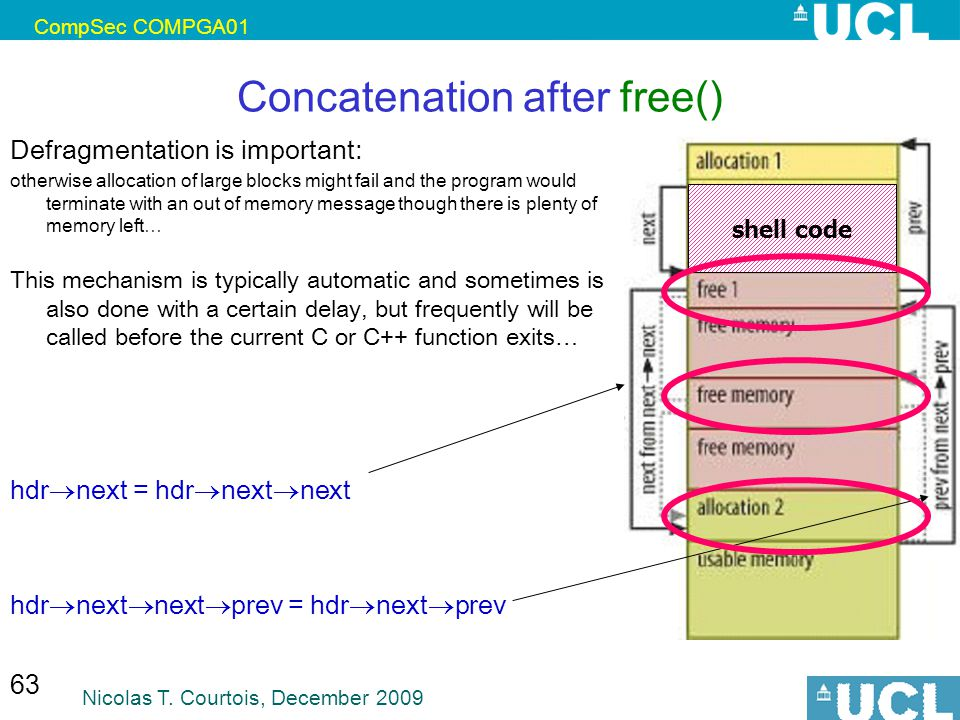 CompSec COMPGA01 Nicolas T. Courtois, December 2009 63 Concatenation after free() Defragmentation is important: otherwise allocation of large blocks m