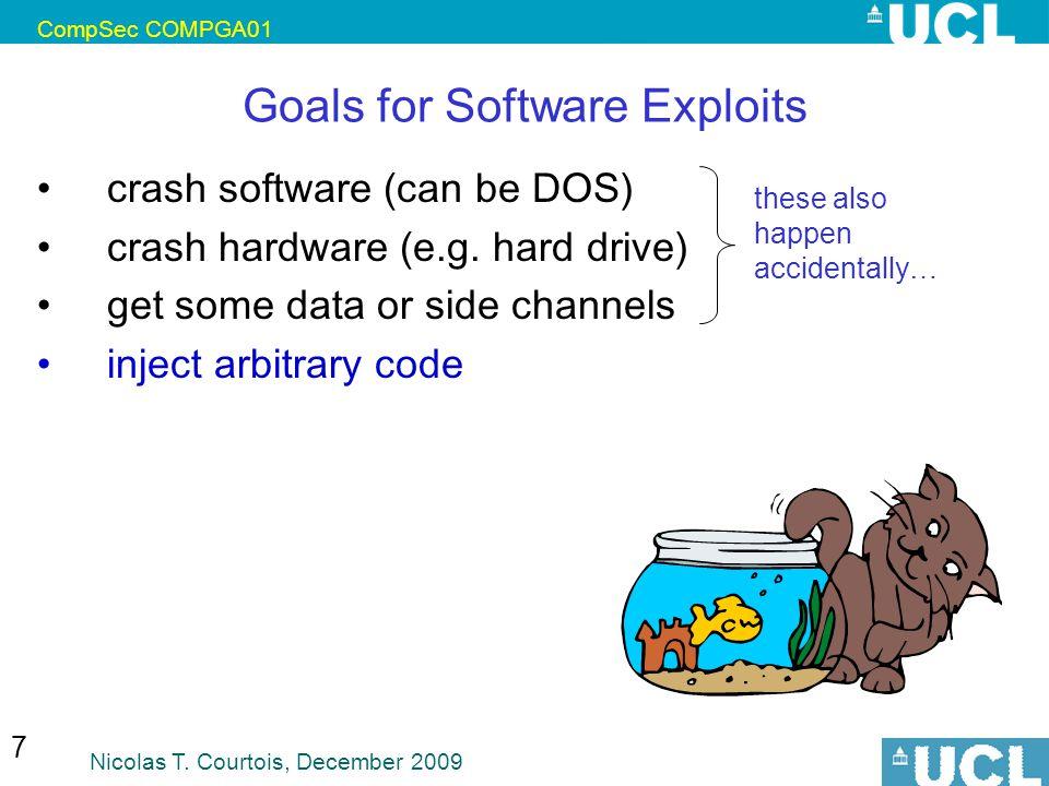 CompSec COMPGA01 Nicolas T. Courtois, December 2009 7 Goals for Software Exploits crash software (can be DOS) crash hardware (e.g. hard drive) get som