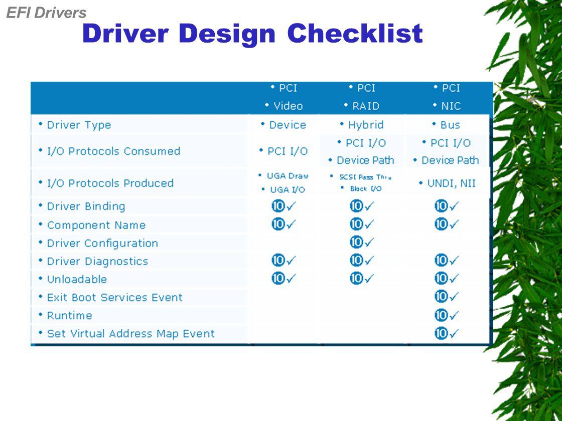 Driver Design Checklist EFI Drivers