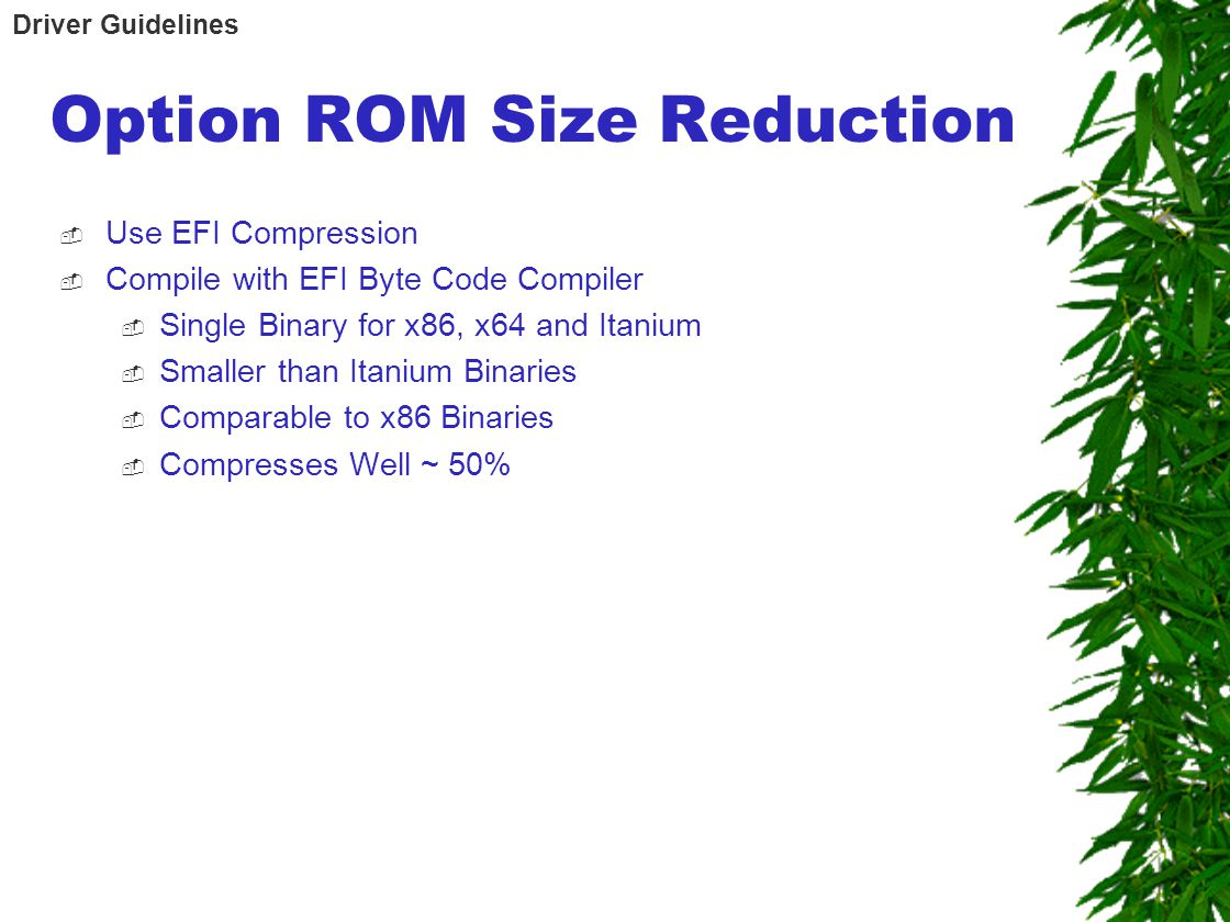 Option ROM Size Reduction  Use EFI Compression  Compile with EFI Byte Code Compiler  Single Binary for x86, x64 and Itanium  Smaller than Itanium Binaries  Comparable to x86 Binaries  Compresses Well ~ 50% Driver Guidelines