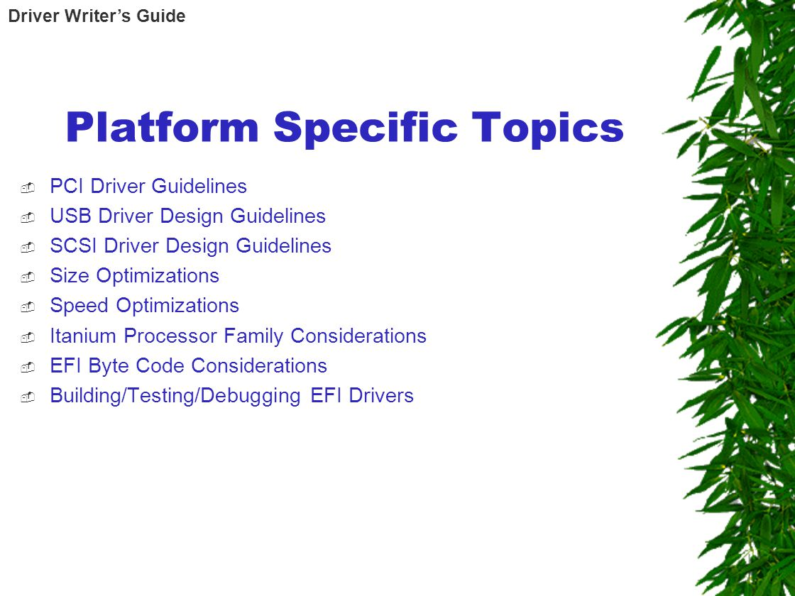 Platform Specific Topics  PCI Driver Guidelines  USB Driver Design Guidelines  SCSI Driver Design Guidelines  Size Optimizations  Speed Optimizations  Itanium Processor Family Considerations  EFI Byte Code Considerations  Building/Testing/Debugging EFI Drivers Driver Writer's Guide