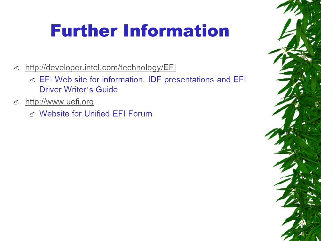 Further Information  http://developer.intel.com/technology/EFI http://developer.intel.com/technology/EFI  EFI Web site for information, IDF presentations and EFI Driver Writer ' s Guide  http://www.uefi.org http://www.uefi.org  Website for Unified EFI Forum