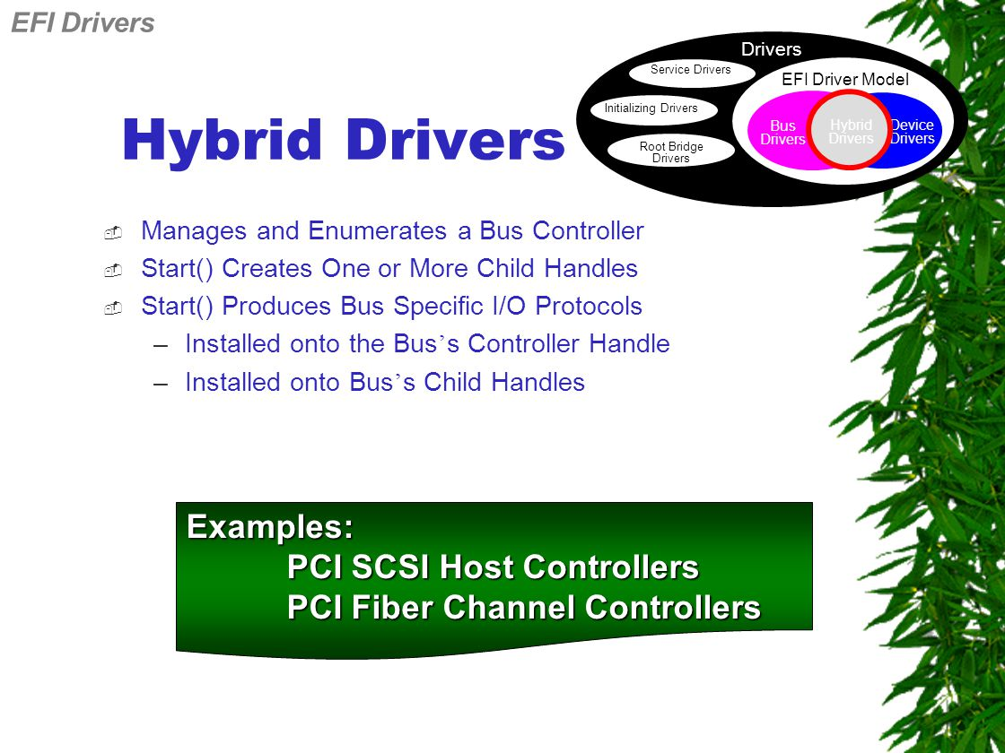 Hybrid Drivers  Manages and Enumerates a Bus Controller  Start() Creates One or More Child Handles  Start() Produces Bus Specific I/O Protocols –Installed onto the Bus ' s Controller Handle –Installed onto Bus ' s Child Handles Examples: PCI SCSI Host Controllers PCI Fiber Channel Controllers Drivers Service Drivers Initializing Drivers Root Bridge Drivers EFI Driver Model Device Drivers Bus Drivers Hybrid Drivers EFI Drivers