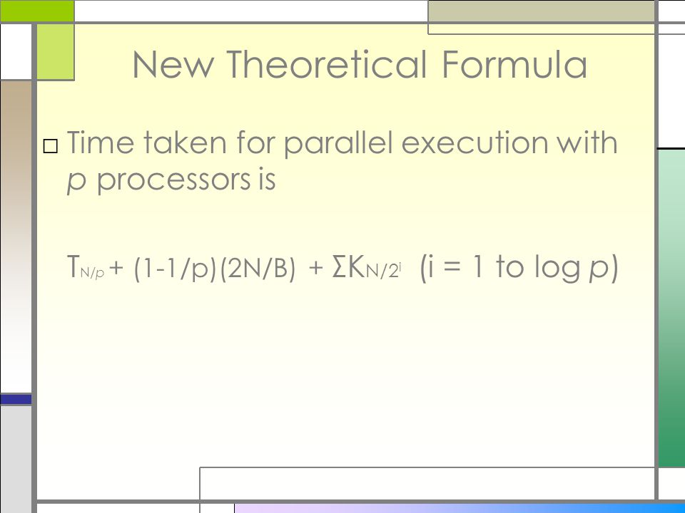 New Theoretical Formula □Time taken for parallel execution with p processors is T N/p + (1-1/p)(2N/B) + ΣK N/2 i (i = 1 to log p)