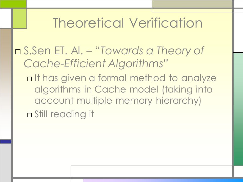 Theoretical Verification □S.Sen ET. Al.