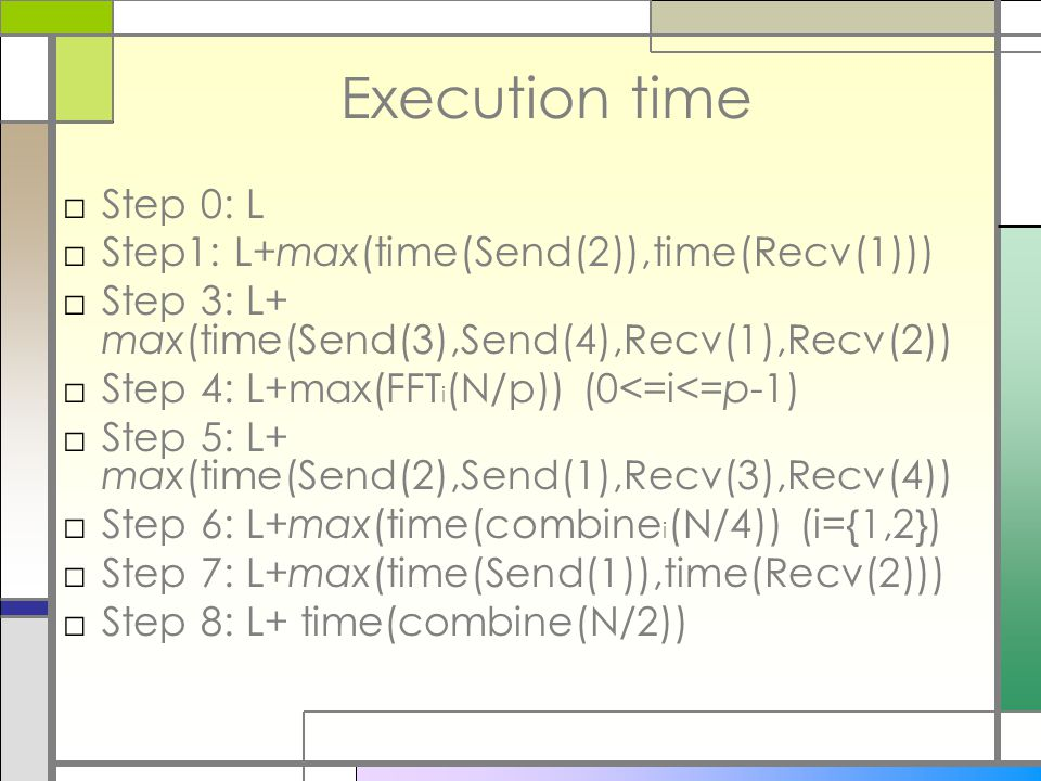 Execution time □Step 0: L □Step1: L+max(time(Send(2)),time(Recv(1))) □Step 3: L+ max(time(Send(3),Send(4),Recv(1),Recv(2)) □Step 4: L+max(FFT i (N/p)) (0<=i<=p-1) □Step 5: L+ max(time(Send(2),Send(1),Recv(3),Recv(4)) □Step 6: L+max(time(combine i (N/4)) (i={1,2}) □Step 7: L+max(time(Send(1)),time(Recv(2))) □Step 8: L+ time(combine(N/2))