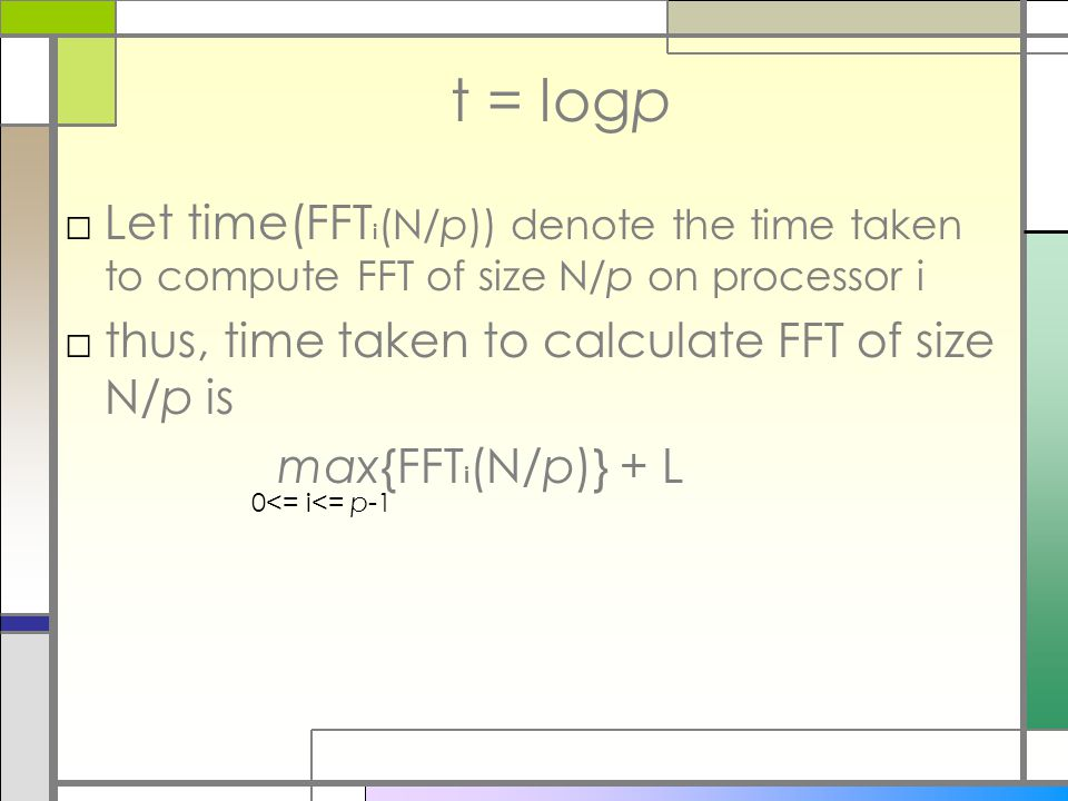 t = logp □Let time(FFT i (N/p)) denote the time taken to compute FFT of size N/p on processor i □thus, time taken to calculate FFT of size N/p is max{FFT i (N/p)} + L 0<= i<= p-1