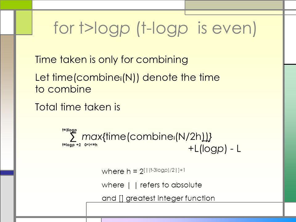 for t>logp (t-logp is even) Time taken is only for combining Let time(combine i (N)) denote the time to combine Total time taken is ∑ max{time(combine i (N/2h))} +L(logp) - L t=log p +2 t=3log p where h = 2 [|(t-3logp)/2|]+1 where | | refers to absolute and [] greatest integer function 0<i<=h