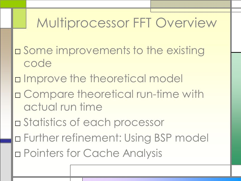 Modeling using BSP Send(2) Recv(1) Send(3) Send(4) Recv(1) P1 P2 P3 P4 FFT(N/4) Send(1) Send(2) Recv(1) Recv(3) Combine Recv(1) Send(1) Combine barrier step 0step 1step 2step 3step 4step 5step 6