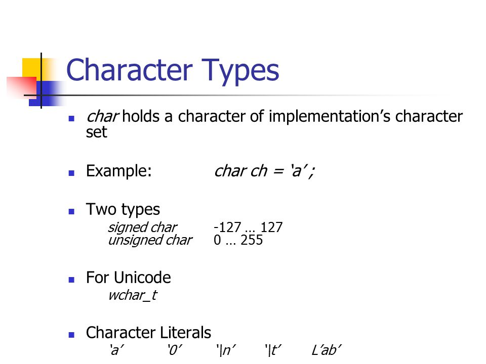 Character Types char holds a character of implementation's character set Example:char ch = 'a' ; Two types signed char-127 … 127 unsigned char0 … 255 For Unicode wchar_t Character Literals 'a''0''\n''\t'L'ab'