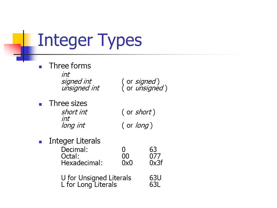 Integer Types Three forms int signed int( or signed ) unsigned int( or unsigned ) Three sizes short int( or short ) int long int( or long ) Integer Literals Decimal:063 Octal:00077 Hexadecimal:0x00x3f U for Unsigned Literals63U L for Long Literals63L