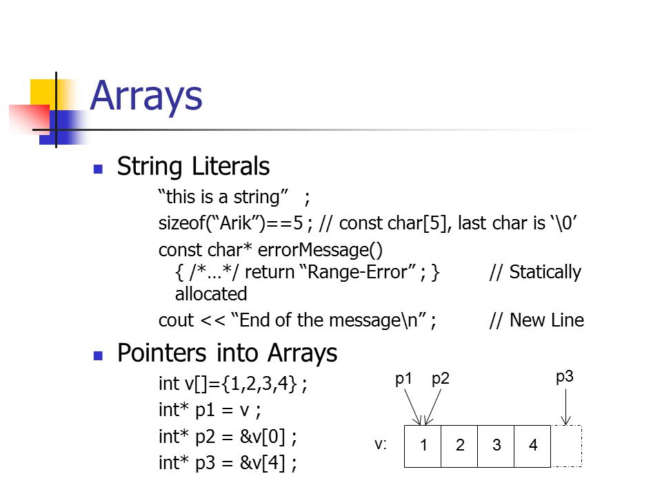 Arrays String Literals this is a string ; sizeof( Arik )==5 ; // const char[5], last char is '\0' const char* errorMessage() { /*…*/ return Range-Error ; }// Statically allocated cout << End of the message\n ;// New Line Pointers into Arrays int v[]={1,2,3,4} ; int* p1 = v ; int* p2 = &v[0] ; int* p3 = &v[4] ; 1234 v: p1p2 p3