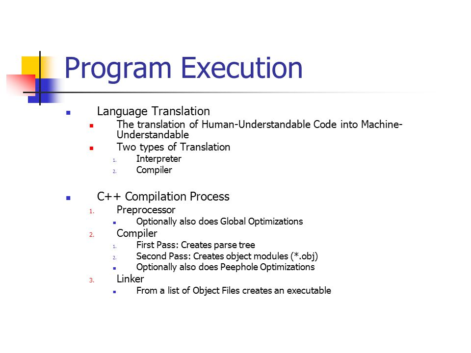 Program Execution Language Translation The translation of Human-Understandable Code into Machine- Understandable Two types of Translation 1.