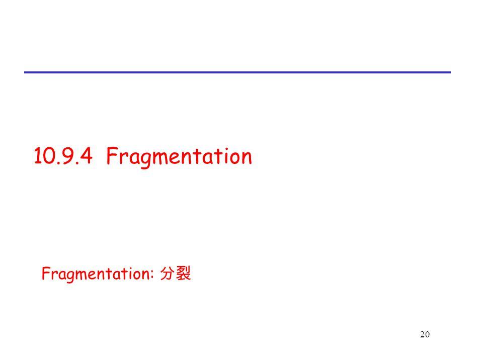 20 10.9.4 Fragmentation Fragmentation: 分裂