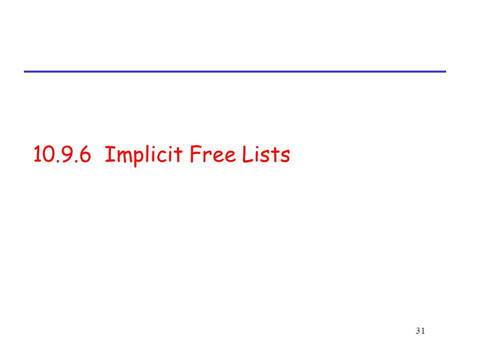 31 10.9.6 Implicit Free Lists