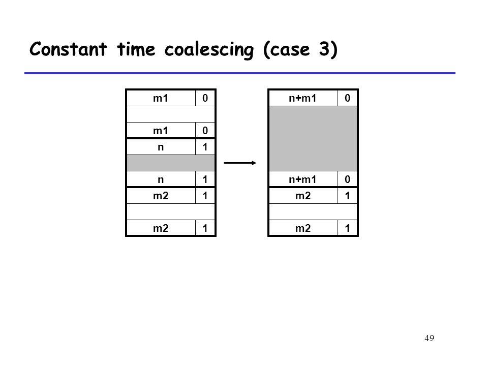 49 m10 0 n1 n1 m21 1 n+m10 0 m21 1 Constant time coalescing (case 3)