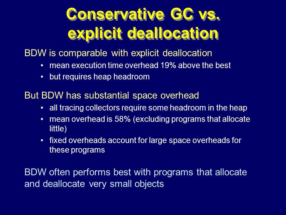 © Richard Jones, Eric Jul, 1999-2000OOPSLA 2000 Tutorial: Garbage Collection95 Conservative GC vs.