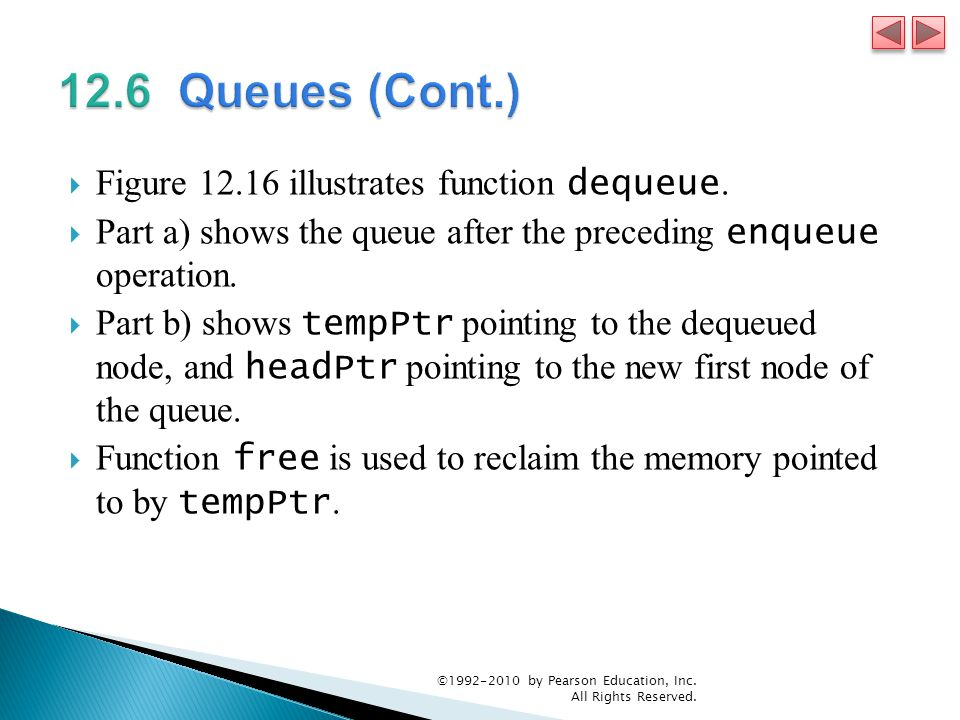  Figure 12.16 illustrates function dequeue.
