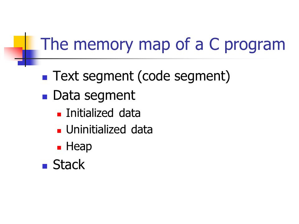 The memory map of a C program Text segment (code segment) Data segment Initialized data Uninitialized data Heap Stack