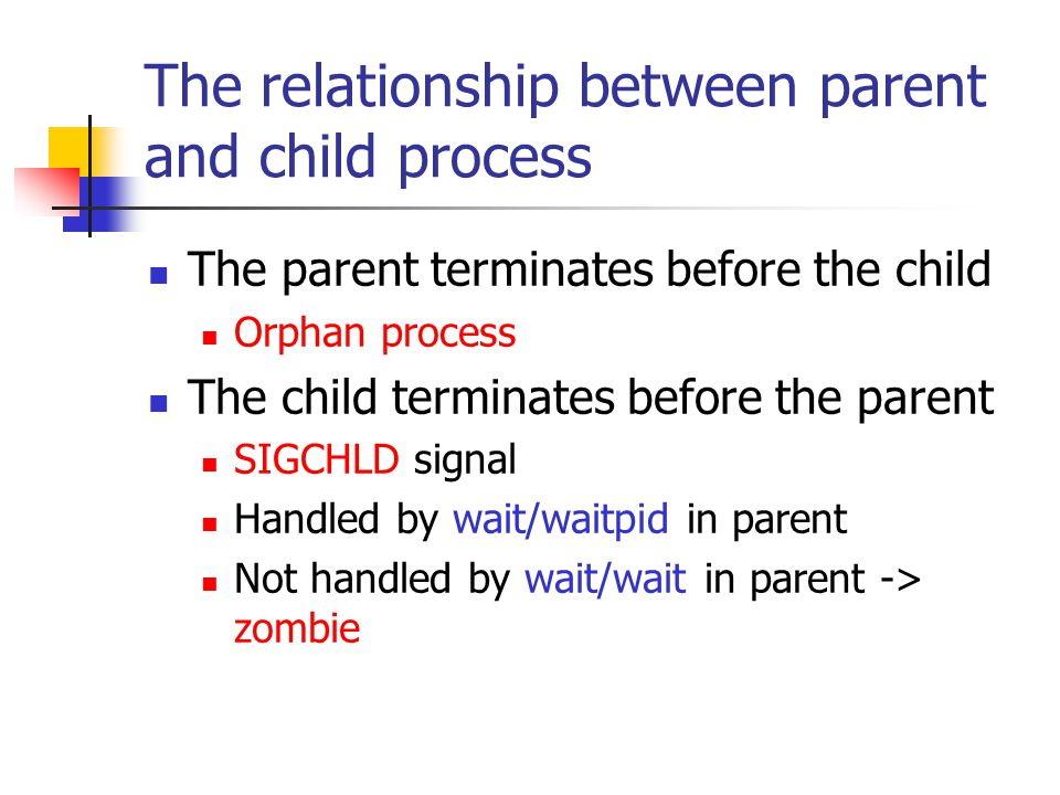 The relationship between parent and child process The parent terminates before the child Orphan process The child terminates before the parent SIGCHLD signal Handled by wait/waitpid in parent Not handled by wait/wait in parent -> zombie