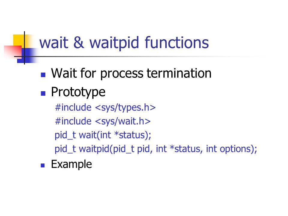 wait & waitpid functions Wait for process termination Prototype #include pid_t wait(int *status); pid_t waitpid(pid_t pid, int *status, int options); Example