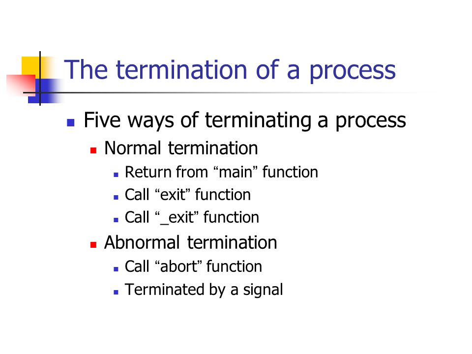 The termination of a process Five ways of terminating a process Normal termination Return from main function Call exit function Call _exit function Abnormal termination Call abort function Terminated by a signal