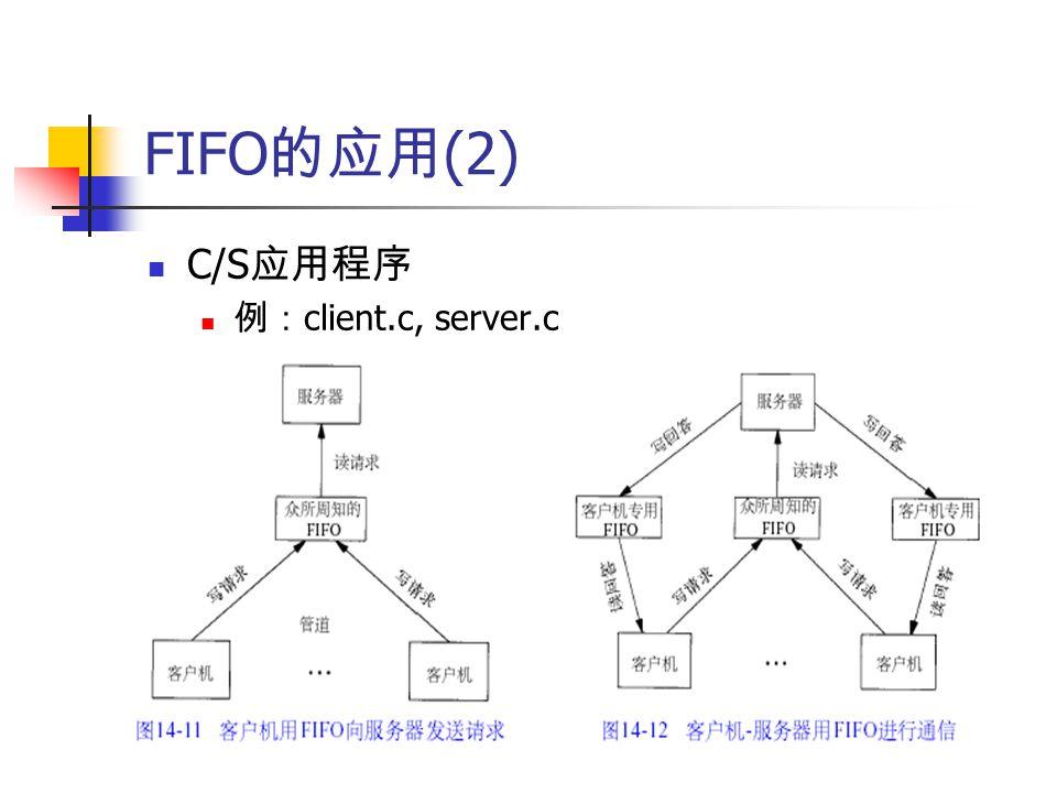 FIFO 的应用 (2) C/S 应用程序 例: client.c, server.c