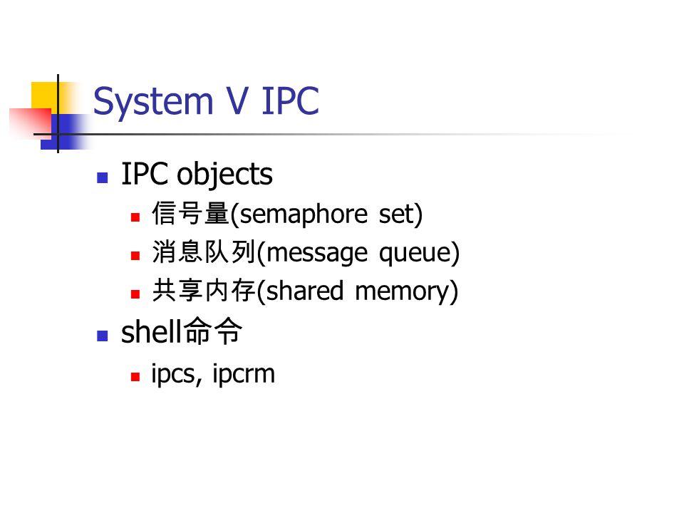 System V IPC IPC objects 信号量 (semaphore set) 消息队列 (message queue) 共享内存 (shared memory) shell 命令 ipcs, ipcrm