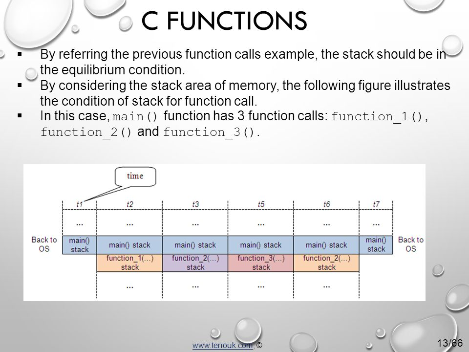  By referring the previous function calls example, the stack should be in the equilibrium condition.